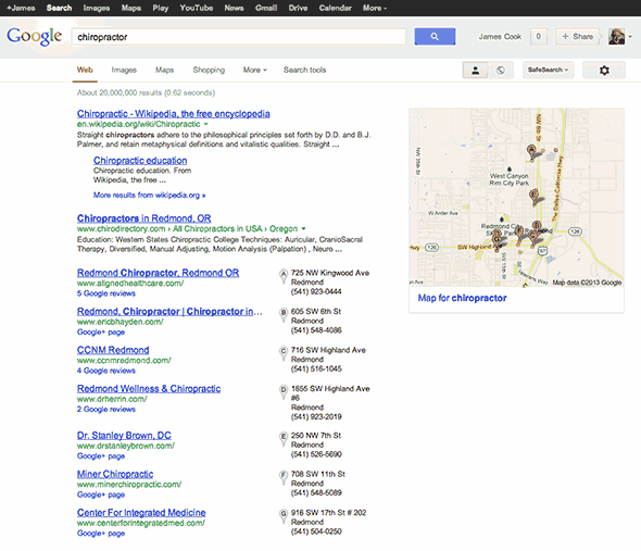Google Places in SERPS